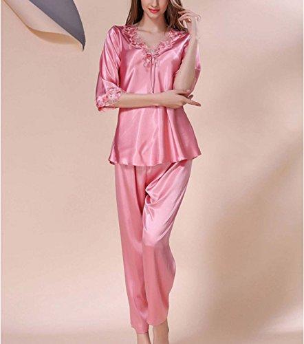 2017 Señorita Xia Ji De Encaje De Seda Atractivo De La Manga Larga Pijamas De La Diversión Del Juego Del Ocio De Interior Pink
