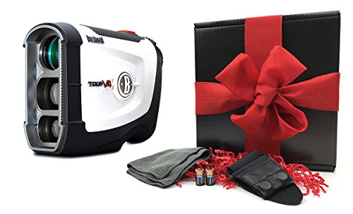 Bushnell Tour V4 (Standard Version) Patriot Pack GIFT BOX BUNDLE Golf Rangefinder, Magnetic Cart Mount, PlayBetter Microfiber Towel, Protective Case/Skin & Two (2) CR2 Batteries