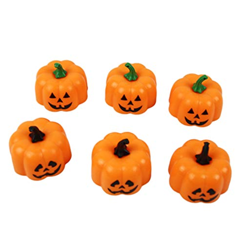NUOBESTY 12Pcs Halloween Led Pumpkin Candle Lights Party Candle Nigh Light Decoration for Home Bar Garden