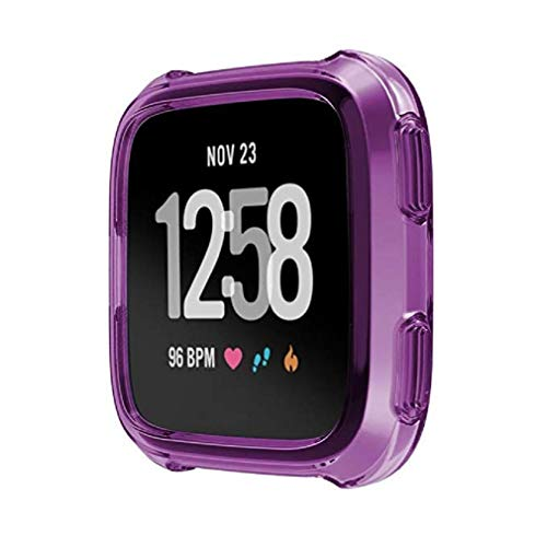 Fashion Clearance! Noopvan Fitbit Versa Protector, Soft TPU Protection Silicone Full Case Cover for Fitbit Versa (Purple) by Noopvan Strap (Image #1)