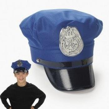[Kids Blue Police Hat by Fun Express] (Policeman Boys Costume)