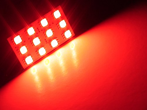 ONE Brilliant RED 36-LED SMD Panel fits all interior Light sockets T10 168 2825 BA9s 6411 6418 212-2 2122