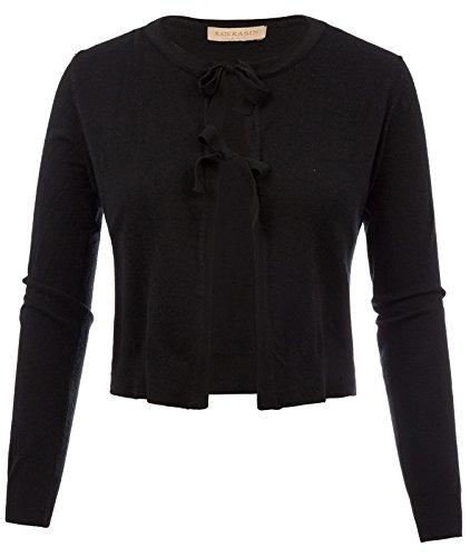 Kate Kasin Women's Long Sleeve Cropped Knit Cardigan Bow-Knot Shrug Jacket ()