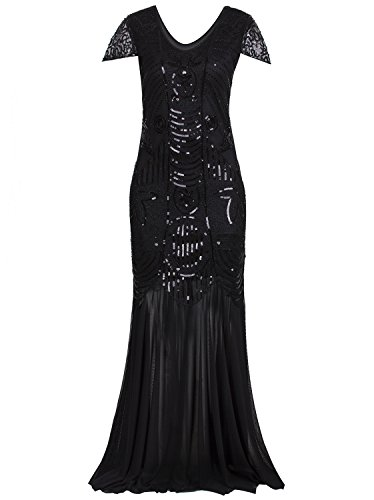 [Vijiv 1920s Long Prom Dresses Gown Beads Sequin Art Deco Evening Flapper Dress] (Gatsby Dress Cheap)