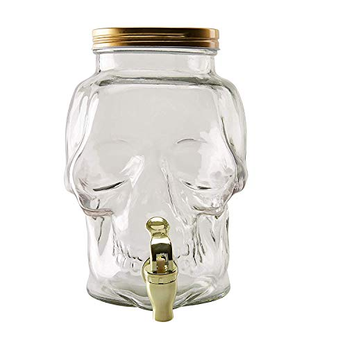 Glass Beverage Dispenser - Skull Shaped 0.78-Gallon Mason Jar Drink Container with Lid and Plastic Spigot, Halloween, Spooky Themed Party Supplies, Juice Bar, Clear, 7.3 x 6.1 x 9.2 Inches, 3-Liter