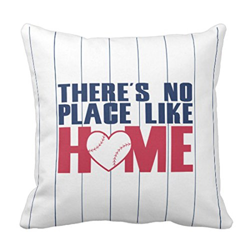 - Emvency Throw Pillow Cover Ball There's No Place Baseball Heart Pinstripe Decorative Pillow Case Home Decor Square 20 x 20 Inch Pillowcase