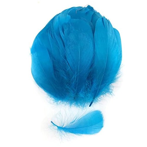 Celine lin 100 PCS Colorful Goose Feathers For DIY Art Craft Wedding Home Party Decorations 3.2-5 Inch(8-12CM),Lake blue ()