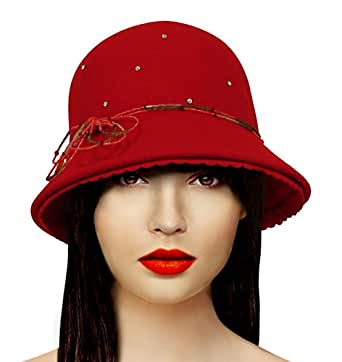 3bcd9308bd3 Red Hat Society by Luke song Cashmere-Soft Felt Bucket Style Hat AR47800RS  at Amazon Women s Clothing store