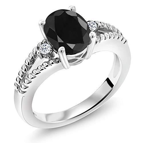 Gem Stone King 2.59 Ct Oval Black Sapphire White Topaz 925 Sterling Silver Ring (Size 7)
