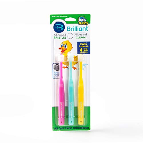 Brilliant Baby Toothbrush by Baby Buddy - for Ages 4-24 Months, BPA Free Super-Fine Micro Bristles Clean All-Around Mouth, Kids Love Them, Pink-Mint-Yellow, 3 - Scrubs Kids University