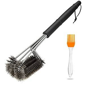 isuda bbq grill brush 3 stainless steel brushes in 1 barbecue grill cleaner 17. Black Bedroom Furniture Sets. Home Design Ideas