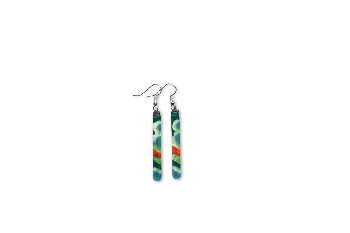 Hand Crafted Artisan Fused Art Glass Earrings - Dangling Earrings Glass with fish hoooks.