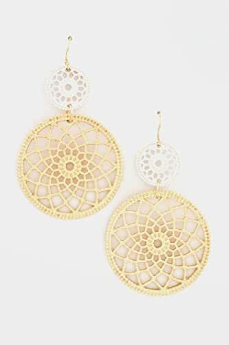 Trendy Fashion Jewelry Floral Round Metal Linked Dangle Earring By Fashion Destination
