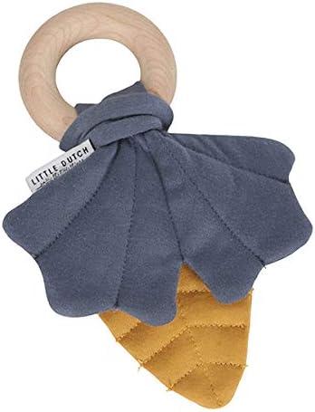 dise/ño de Hojas 2,5 x 12 x 17,5 cm Mordedor con pa/ñuelo crujiente Color Azul y Amarillo TIAMO Little Dutch 4900