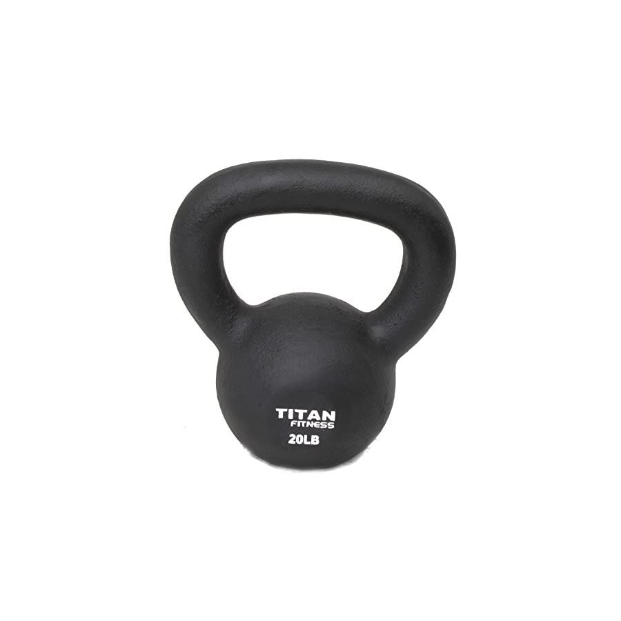 Titan Fitness Cast Iron Kettlebell Weight 20 Lbs Natural Solid Workout Swing