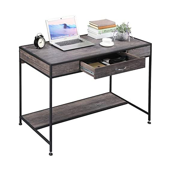 Aingoo Writing Computer Desk with Drawer Industrial Laptop Study PC Workstation Desk Table with Metal Frame for Home… -  - writing-desks, living-room-furniture, living-room - 41bN9DAyywL. SS570  -