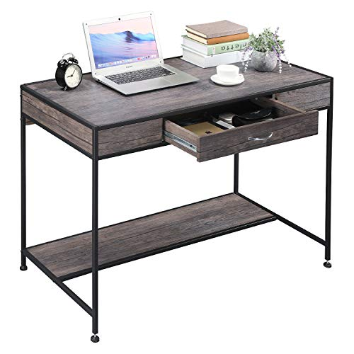 Aingoo Computer Writing Desk with Drawers,Home Office Rustic Metal MDF Wood Mid Century Large PC Table for Brown Farmhouse Brown
