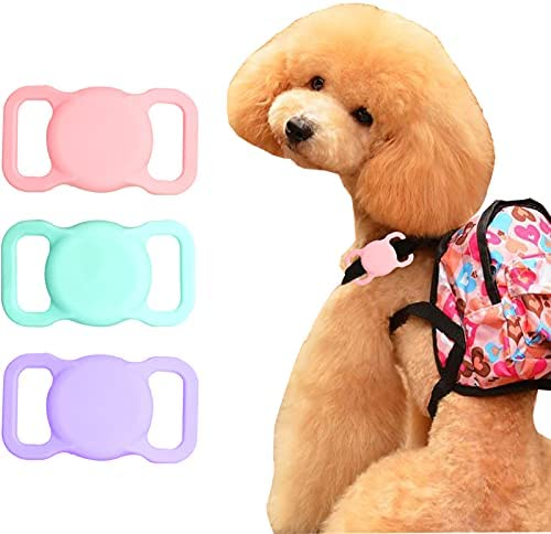 iBREK Case Compatible with Airtag Keychain Holder, Silicone Pet Dog Apple Airtags Accessories Cute Case 3 Pack for Collar(No Tracker), (Pink&Lavender&Teal