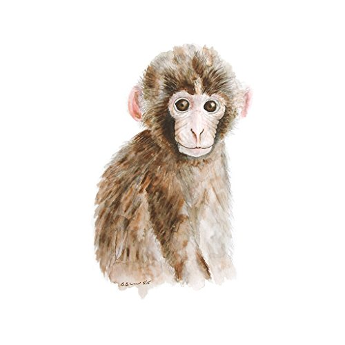 Baby Monkey Watercolor Nursery Print Available In Various Sizes, Jungle Animal Nursery Decor