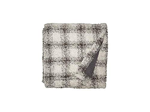 Dylan by True Grit Women's Cozy Soft Pile & Shearling Shadow Plaid Blanket with Knit Lining Charcoal One Size