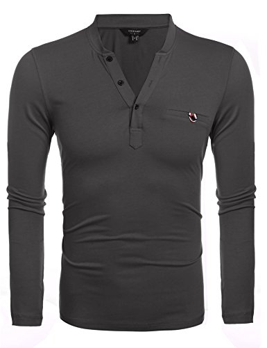Mens Casual V-Neck T-Shirt, Slim Fit Long Sleeve Solid Button 3 Color 4 Size with Pocket