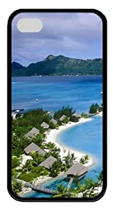 Polynesia Beach TPU Silicone Rubber Soft Back Case Cover for iPhone 4/4s - Black