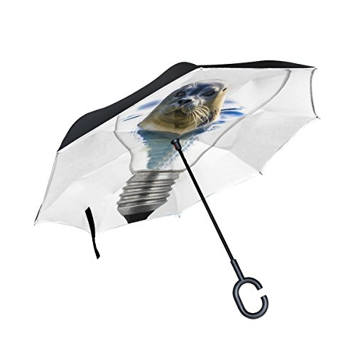 IIAKXNB Double Layer Inverted Bulb Light White Icon Seal Animal Umbrellas Reverse Folding Umbrella Windproof Uv Protection Big Straight Umbrella For Car Rain Outdoor With C-shaped Handle - Inverted Led Bulb