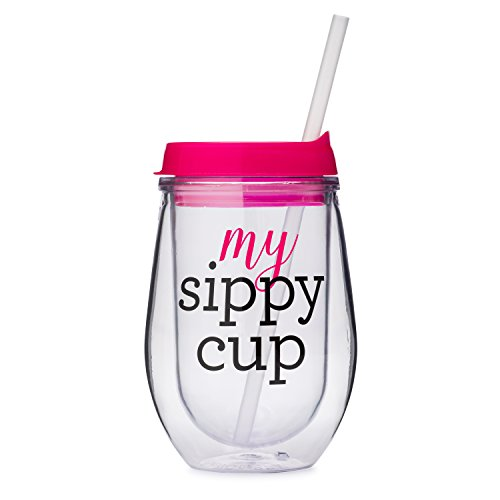10 oz My Sippy Cup - Stemless Acrylic Double Wall Insulated Wine Sippy Cup with Purple Lid and Clear Straw