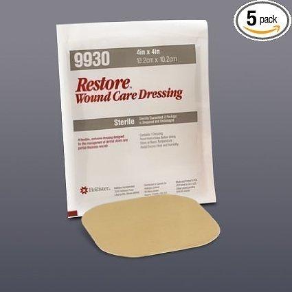 Hollister 519930 - Restore Hydrocolloid Dressing w/ Foam Backing, 4'' x 4'', 5/bx (Hydrocolloid Dressing Restore)