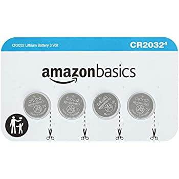 AmazonBasics CR2032 3 Volt Lithium Coin Cell Battery, 4 Count