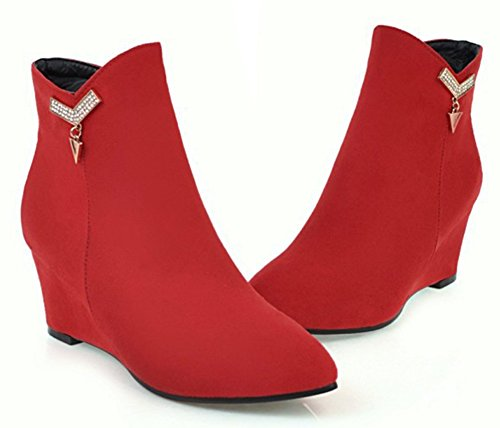 Shoes Booties Heel Pointed Zipper Up Zip Boots Wedge Aisun With Inside Ankle Toe Mid Dressy Rhinestone Women's Red YxqwP6f