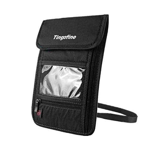 Upgraded Passport Holder Travel Neck Wallet with RFID Blocking, Tingofine Stash Zippers Travel Document Organizer Pouch with Adjustable Neck Strap For Men and Women