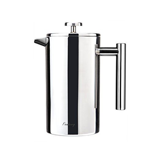 FINNHOMY French Press Coffee Maker, Stainless Steel Double Wall, 8 Cup Coffee Press Pot,34 Ounce 1 Liter