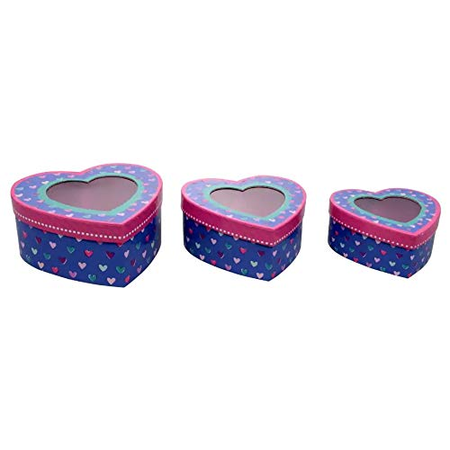 (Valentine's Day Gift Boxes Heart Shaped Treat Boxes with Window for Girlfriend Wife Mom Daughter Loved Ones; Cardboard Goody Box Party Favors Set of 3 Nesting Heart-Shaped Unique Box Blue and Pink)