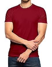 T-Shirts Round Neck Cotton Men summer - Dark Red 6X