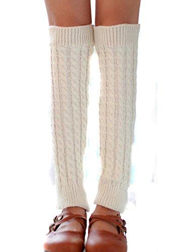 Leg Winter Warmers Nsstar Leggings Socks Women White Crochet Knit Long 7w60qd