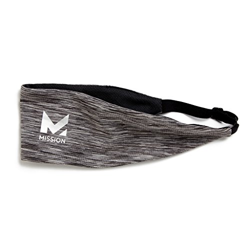 (Mission VaporActive Cooling Lockdown Headband, Charcoal Space Dye, One)