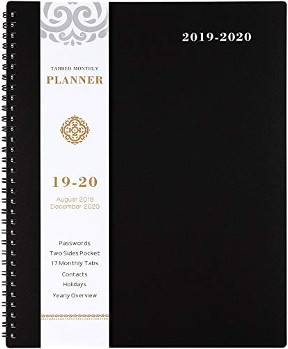(2019-2020 Monthly Planner - 17-Month Planner with Tabs & Pocket & Label, Contacts and Passwords, Thick Paper, Twin-Wire Binding, 8.5