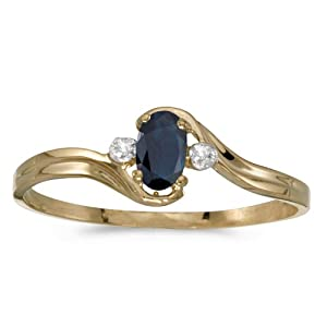 0.26 Carat ctw 10k Gold Oval Blue Sapphire Solitaire & Diamond Accent Bypass Swirl Fashion Promise Ring