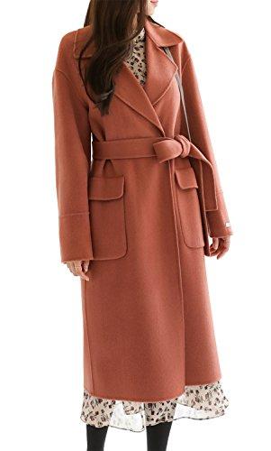 CHERRYKOKO Women's Long Handmade Fashion Front Pocket Wool Coat tWith Belt (DEEP PINK)