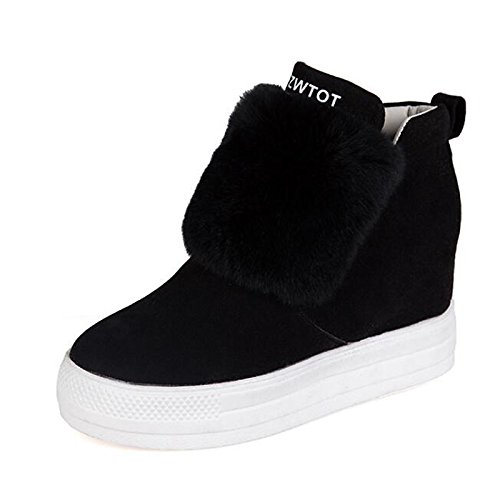 Toe Comfort HSXZ Spring Shoes Feather ZHZNVX Women's Wedge Boots Walking Black Boots Fall Boots leather Nubuck Shoes Ankle Booties Heel Round Snow For 0dSq4paw