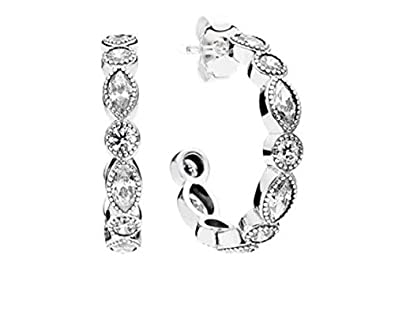 72722dd32 Image Unavailable. Image not available for. Color: Pandora Sterling Silver Alluring  Brilliant Marquise Hoop Earrings 290724CZ
