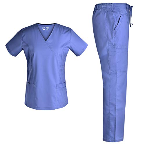 Pandamed Women Nurse Stretch Scrubs Set Medical Uniforms Nursing Mock Wrap Nursing Scrubs Top Drawstring Cargo Pants TCS3103 (CEILBLUE, S)