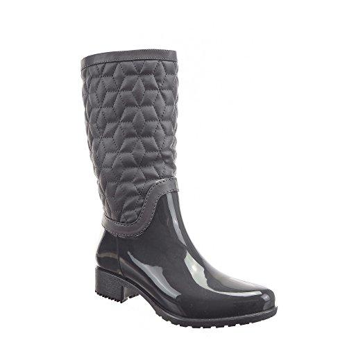 Sopily - Chaussure Mode Botte Bottes de Pluie Cavalier Genoux femmes Matelassé Fermeture Zip Talon bloc 3.5 CM - Gris
