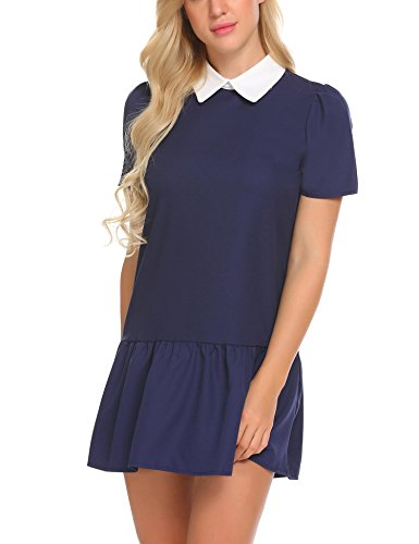 SE MIU Womens Peter Pan Collar Long Sleeve Zipper Flare - Miu Chart Miu Size