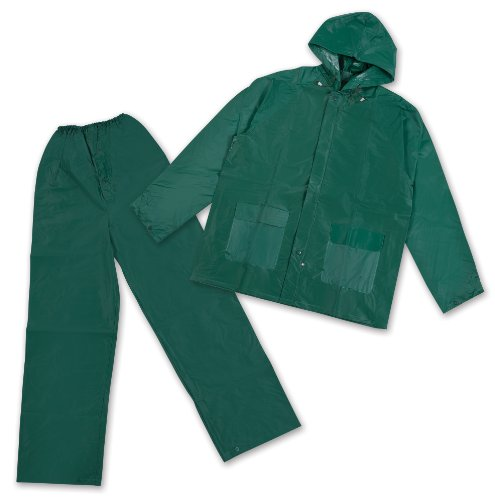 - Stansport Men's PVC Rainsuit with Hood, Green, X-Large