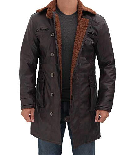 Blingsoul Black Trench Coat Men - Brown Winter Shearling Leather Jackets for Men
