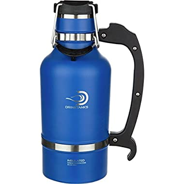 DrinkTanks Growler - Keeps Beer Cold, Fresh, Carbonated. 64oz Capacity (Blue)