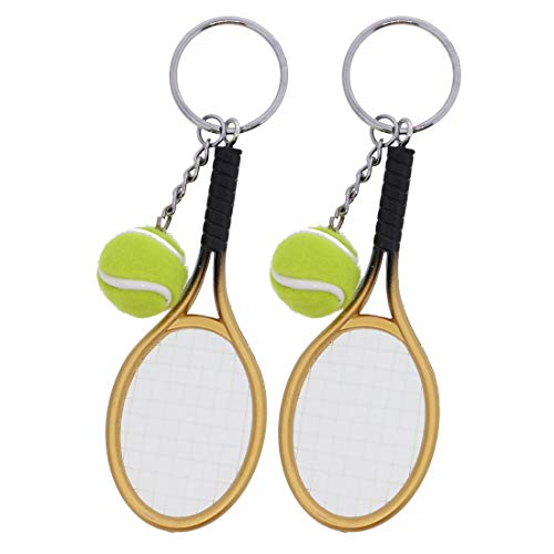 Gold Tennis Racket - Tennis Racket with Ball Keychain Gift Charm Backpack - Set of 2 Gold
