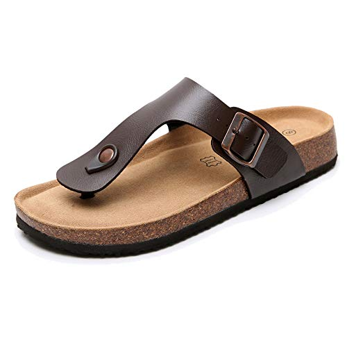 Real Fancy Men's Thong Footbed Flat Flip-Flops Cork Leather Sandals with Adjustable Buckle Strap Soft Cow Suede Open Toe Slippers Brown